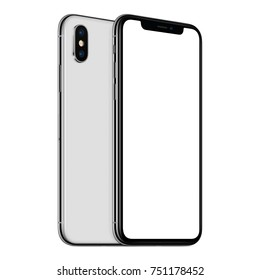 Rotated frameless smartphones mockup front side with white screen and back side. Smartphones one above the other. Isolated on white background. 3D illustration.