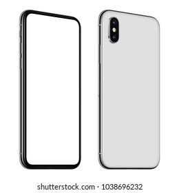 Rotated smartphone mockup front side with blank white screen and smartphone back side with dual camera module. Isolated on white background. 3D illustration.
