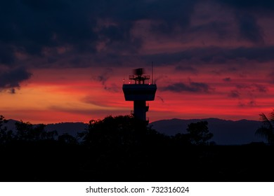 Rotating antenna secondary surveillance radar with twilight sky at sunset time
