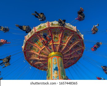 Rotating chain carousel on the Oktoberfest, Munich, Bavaria, Germany, Europe, 03. October 2019