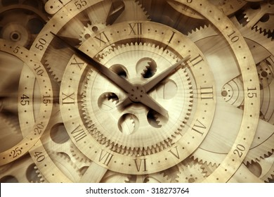 Rotating clock, close-up