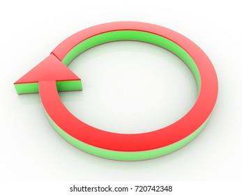 rotating colorful arrow . 3D illustration