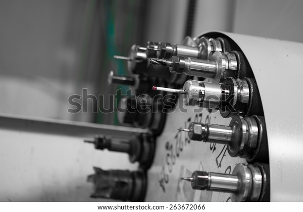 Rotating Head Drilling Machine Bits Tools Stock Photo (Edit