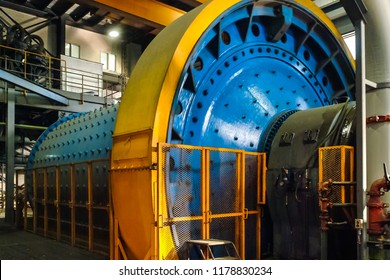 Rotating Large Capacity Ball Mill Grinder Crushing Rock Ore at a Mine