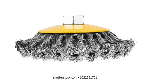 Rotating metal brush, isolated on white background