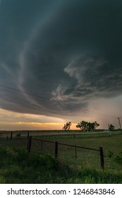 Rotating thunderstorm (supercell) in northwestern Oklahoma at sunset
