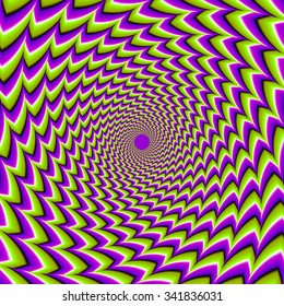 Rotation of green spirals (spin illusion)
