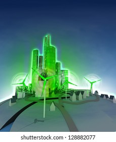 rotation of windmill and shining green ecological city  illustration