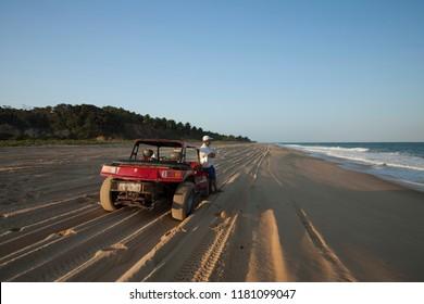 Roteiro, Alagoas / Brazil - 09/11/2015: Buggy on Gunga Beach - South Coast of Alagoas