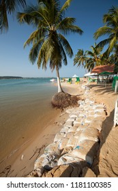 Roteiro, Alagoas / Brazil - 09/11/2015: sandbags used as a containment barrier to prevent the advance of the tide in Gunga Beach - South Coast of Alagoas
