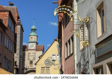 Rotenburg ob der Tauber, Germany - 2 July 2019: datail of historical architecture at Rotenburg ob der Tauber on Germany