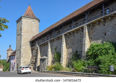 Rotenburg ob der Tauber, Germany - 3 July 2019: Historical city wall of Rotenburg ob der Tauber on Germany