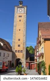Rotenburg ob der Tauber, Germany - 3 July 2019: tower of entrance gate of Rotenburg ob der Tauber on Germany
