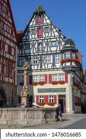 Rotenburg ob der Tauber, Germany - 3 July 2019: historical street of Rotenburg ob der Tauber on Germany
