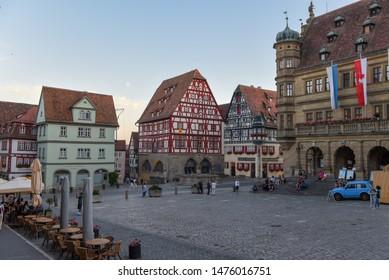 Rotenburg ob der Tauber, Germany - 2 July 2019: historical square of Rotenburg ob der Tauber on Germany