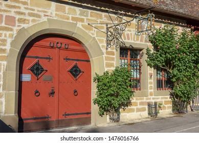 Rotenburg ob der Tauber, Germany - 2 July 2019: historical house of Rotenburg ob der Tauber on Germany