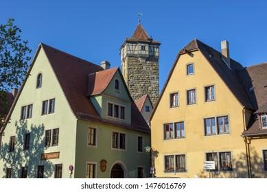 Rotenburg ob der Tauber, Germany - 2 July 2019: historical town of Rotenburg ob der Tauber on Germany