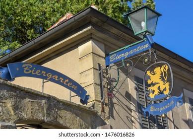 Rotenburg ob der Tauber, Germany - 2 July 2019: signs of a restaurant at Rotenburg ob der Tauber on Germany
