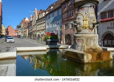 Rotenburg ob der Tauber, Germany - 2 July 2019: historical street of Rotenburg ob der Tauber on Germany