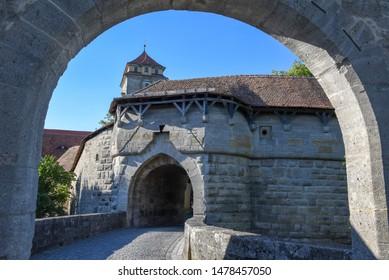 Rotenburg ob der Tauber, Germany - 2 July 2019: Tower of entrance gate of Rotenburg ob der Tauber on Germany