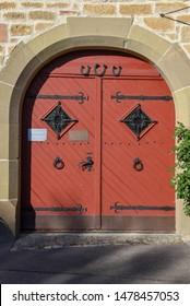 Rotenburg ob der Tauber, Germany - 2 July 2019: Historical door at Rotenburg ob der Tauber on Germany