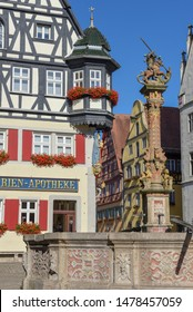Rotenburg ob der Tauber, Germany - 2 July 2019: Historical house at Rotenburg ob der Tauber on Germany