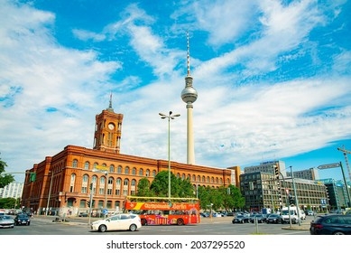 The Rotes Rathaus is the town hall of Berlin and is the home to the governing mayor and the government of the state of Berlin. Taken in Berlin, Germany on July 21, 2016