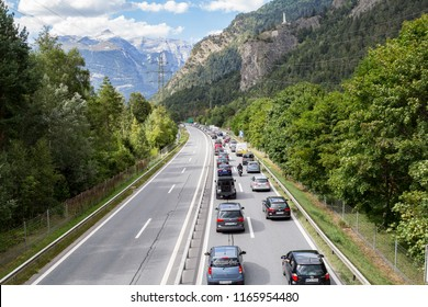 Rothenbrunnen, Switzerland: 12 August 2018 - Weekend traffic jam on the highway towards Swiss Alps  recreation regions, there is no contraflow in direction to metroplises.