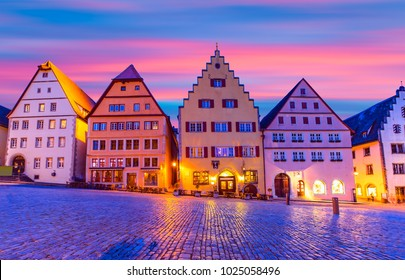 Rothenburg City hall of historic town at Rothenburg ob der Tauber at sunset - Bavaria, Germany