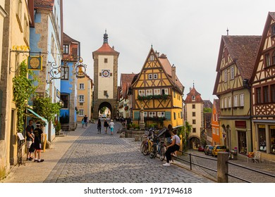ROTHENBURG, GERMANY - AUGUST 29, 2019: Plonlein in Rothenburg ob der Tauber, Bavaria state, Germany