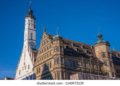 Rothenburg, Germany - december 16, 2013: Building and tower of the town hall in the center of the historic walled town