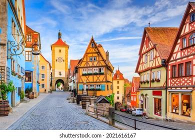 Rothenburg, Germany. Medieval town of Rothenburg ob der Tauber on a summer evening.