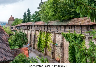 Rothenburg ob de Tauber, Germany - August 8 2010: City walls of Rothenburg, well known for its well-preserved medieval old town. It is part of the popular Romantic Road through southern Germany.