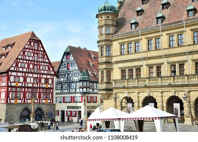 Rothenburg ob der Tauber, Bavaria/ 07/18/2018: Glorious architecture is on display in Rothenburg's Marktplatz.