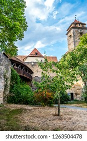 Rothenburg ob der Tauber, Bavaria, Germany - August 17 2018: Exterior of the Spital Bastion at the south entrance to the old town of Rothenburg ob der Tauber.