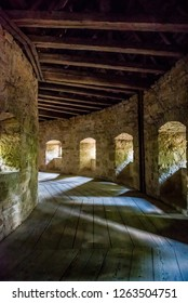 Rothenburg ob der Tauber, Bavaria, Germany - August 17 2018: Interior of the Spital Bastion at the south entrance to the old town of Rothenburg ob der Tauber.