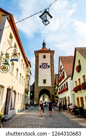 Rothenburg ob der Tauber, Bavaria,  Germany - August 17 2018: View of Siebers Tower, a famous historic landmark, in Rothenburg ob der Tauber, Germany.