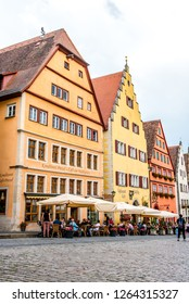 Rothenburg ob der Tauber, Bavaria, Germany - August 17 2018: View of the Marktplatz (Market Place) in the old town of Rothenburg ob der Tauber, Germany.