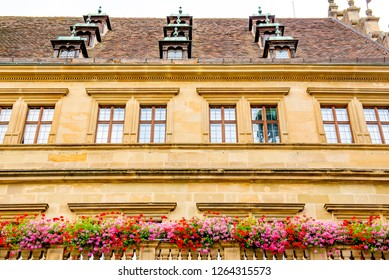 Rothenburg ob der Tauber, Bavaria, Germany - August 17 2018: View of the Town Hall which is located on the Marktplatz (Market Place) in the old town of Rothenburg ob der Tauber, Germany.