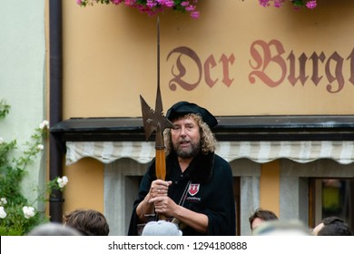 Rothenburg Ob Der Tauber, Bavaria/ Germany June 25th, 2017:  night watchman giving historic tour in Rothenburg Ob der Tauber