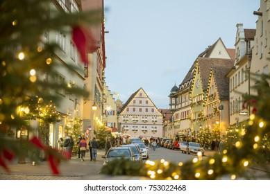 Rothenburg ob der Tauber, Bavaria, Germany - December 23, 2015: Christmas season of Rothenburg ob der Tauber historic town downtown at night, Bavaria, Germany.