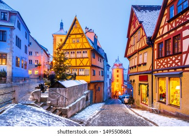 Rothenburg ob der Tauber, Christmas decorated city of Franconia, Bavaria in Germany.