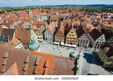 ROTHENBURG OB DER TAUBER, GEMANY - SEPTEMBER 06, 2010: Aerial view of the town from the Town Hall Tower in Rothenburg Ob Der Tauber, Germany.