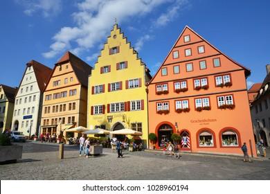ROTHENBURG OB DER TAUBER, GERMANY - JULY 14: Street view of Rothenburg ob der Tauber at Marktplatz, on July 14. 2017 in Rothenburg ob der Tauber, Germany
