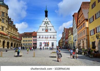 ROTHENBURG OB DER TAUBER, GERMANY - JULY 11: Street view of Rothenburg ob der Tauber at Marktplatz, on July 11. 2017 in Rothenburg ob der Tauber, Germany