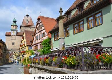 ROTHENBURG OB DER TAUBER, GERMANY - JULY 11: Street view of Rothenburg ob der Tauber, on July 11. 2017 in Rothenburg ob der Tauber, Germany