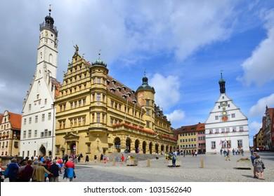 ROTHENBURG OB DER TAUBER, GERMANY - JULY 11: Marktplatz in city center, on July 11. 2017 in Rothenburg ob der Tauber, Germany