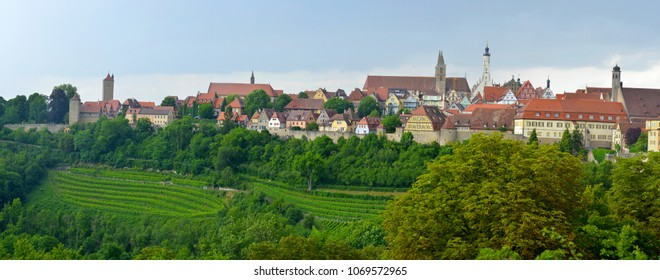 ROTHENBURG OB DER TAUBER, GERMANY - JULY 14:Panoramic view of Rothenburg ob der Tauber, on July 14. 2017 in Rothenburg ob der Tauber, Germany