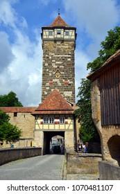 ROTHENBURG OB DER TAUBER, GERMANY - JULY 11:Bastion tower in Rothenburg ob der Tauber, on July 11. 2017 in Rothenburg ob der Tauber, Germany