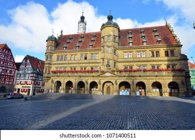 ROTHENBURG OB DER TAUBER, GERMANY - JULY 13:The Rathaus in  Rothenburg ob der Tauber, on July 13. 2017 in Rothenburg ob der Tauber, Germany